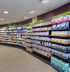 AGENCEMENT PHARMACIE LEPAGE TRANSFERT OFFICINE LINEAIRE COURBE