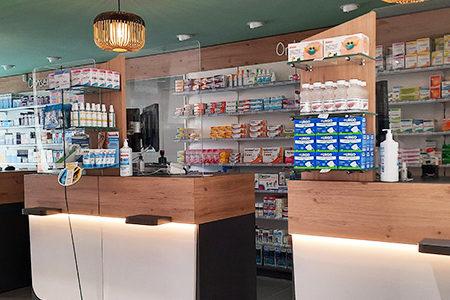 extension pharmacie entrée comptoirs